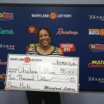 Chakiera Williams of Easton shows off her big win